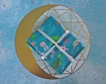 Sea Creature and Ocean Fabric, Fat Quarter, 21x18in, 1 Piece