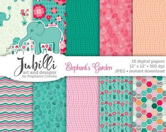 Elephant Digital Paper, Garden Digital Paper, 12x12 Digital, Flower Digital, Paisley Paper, Gardening Digital, scrapbook, papercraft, girl