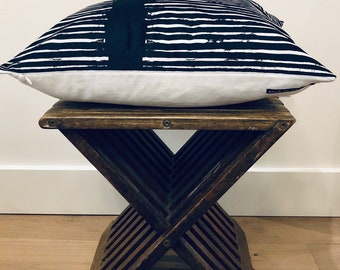 Mid Century Modern Black and White Striped VELVET Oversized Large Square Decorative PILLOW Cover RUSTIC Farmhouse Accent Pillow
