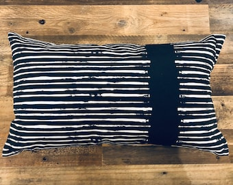 RUSTIC Black and White Striped Rectangular LUMBAR Decorative Pillow Cover Nordic Mid Century Modern FARMHOUSE Accent Pillow