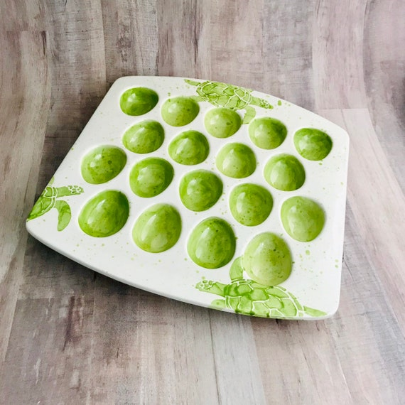 Egg Tray. Sea Turtle Square Egg Tray.Egg.Tray.Green.Serving.Turtle.Sea.Handmade by Sara Hunter