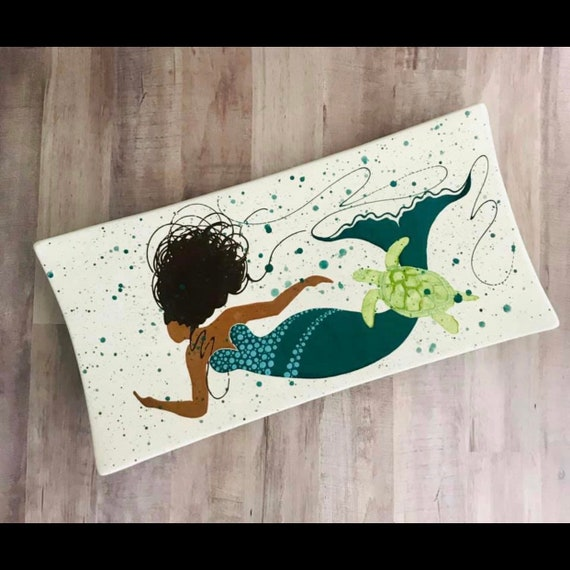 Platter. Mermaid. African American Mermaid Rectangular Platter. Tan Skin Mermaid. Serving Platter. Housewarming gift.Handmade by Sara Hunter
