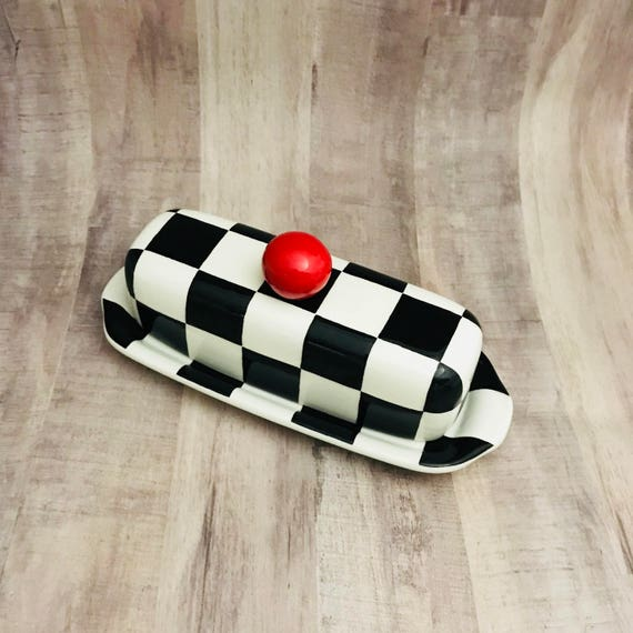 Butter Dish. Checkerboard Knobbed Butter Dish. Dish. Wedding Gift. Housewarming Gift. Handmade by Sara Hunter