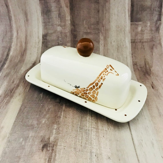 Giraffe Butter Dish. Single Butter Dish.Knobbed. Giraffe. Safari. Butter. Handmade by Sara Hunter