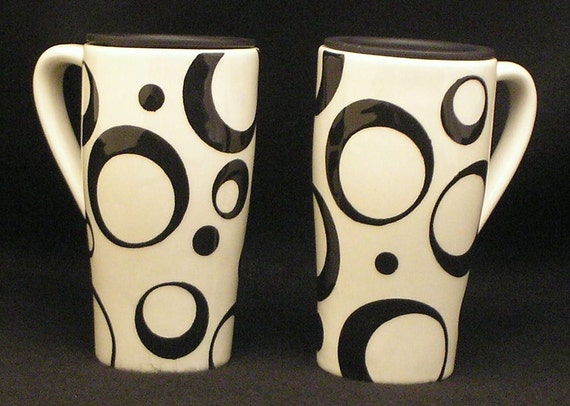 Travel Mug. Black Open Circle Travel Mug. Black. Circle. Swirl. Travel. Mug. Dots. Handmade by Sara Hunter