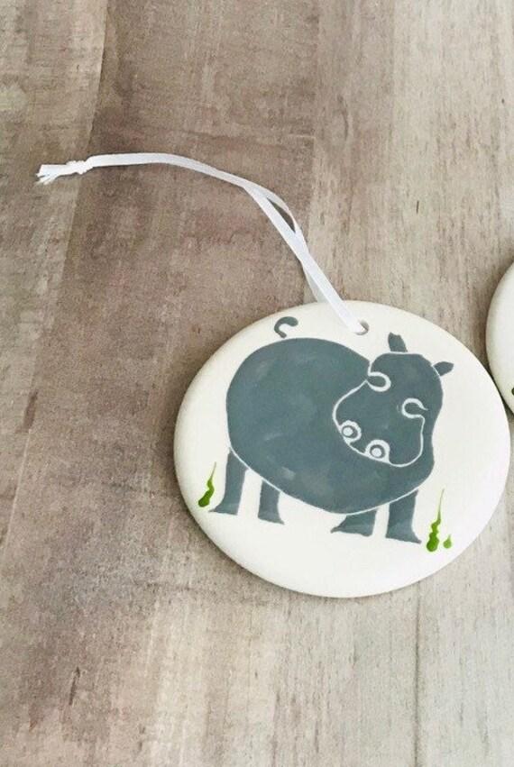 Hippo. Hippopotamus. Christmas Ornament. Handmade by Sara Hunter
