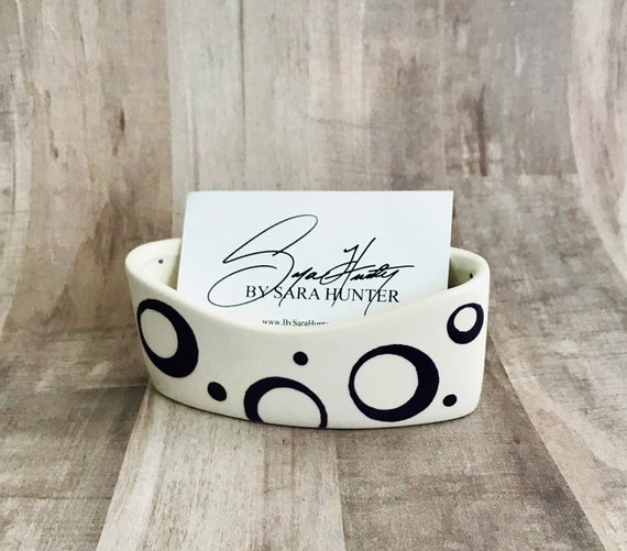 Open Circle Business Card Holder. Dot. Circle. Swirl. Bubble. Business. Card. Handmade by Sara Hunter Designs.