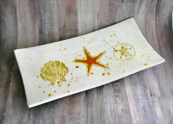 Platter. Scallop Shell. Starfish. Sand Dollar. Rectangular Platter. Sea Star. Handmade by Sara Hunter