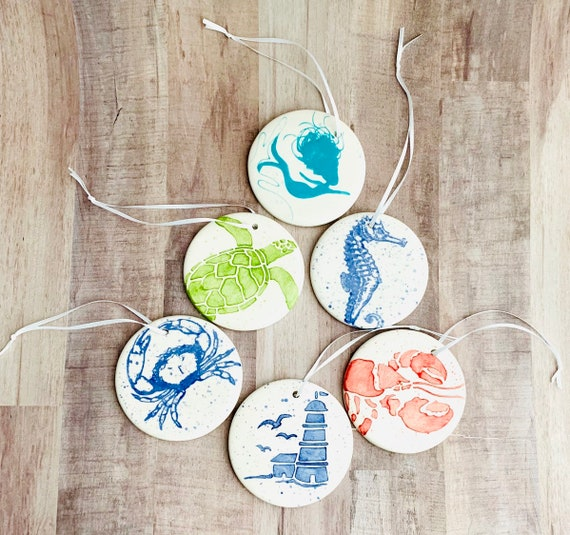Beach Decor Sea Turtle. Crab.Sailboat. Seahorse. Mermaid Ornaments. Beach Christmas.Nautical Ornament. Trim Tree. Handmade by Sara Hunter