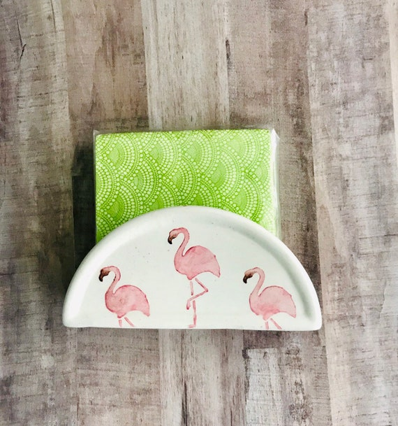 Napkin Holder. Flamingo Napkin Holder. Handmade By Sara Hunter