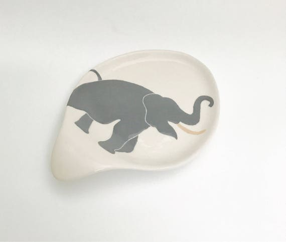 Spoon Rest. Elephant Spoon Rest Without Handle. Elephant. Handmade by Sara Hunter