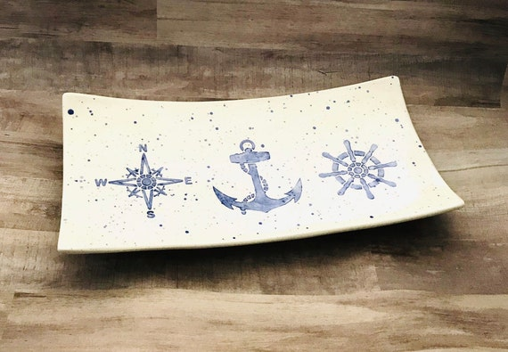 Platter. Nautical Platter. Anchor. Wheel. Compass Rose. Sea. Ocean. Handmade by Sara Hunter