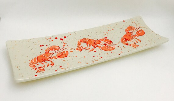 Platter. Lobsters times 3  Platter. Lobster. Red. Ocean. Seafood. Handmade by Sara Hunter Designs