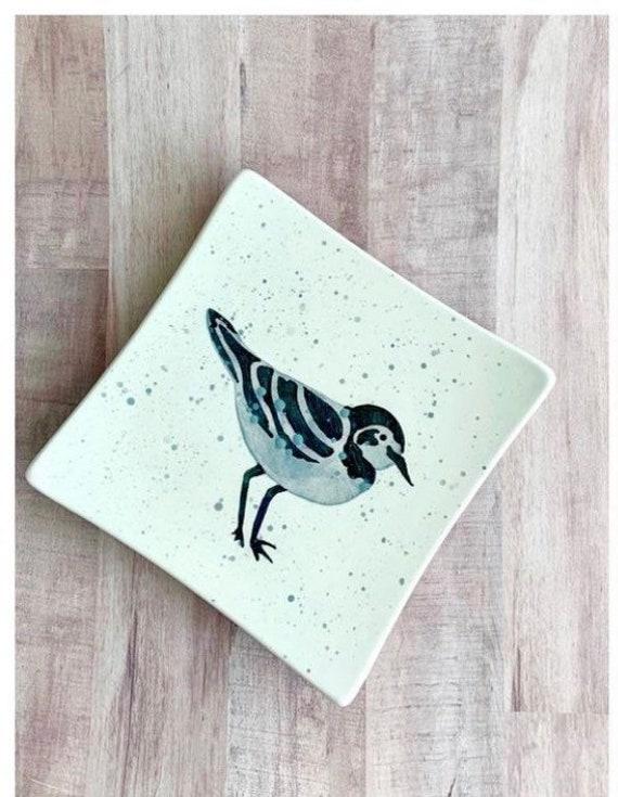 READY TO SHIP. Salad Plate. Sandpiper. Shorebird. Salad Plate. Housewarming Gift. Nautical.Handmade by By Sara Hunter
