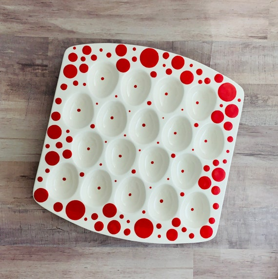 Platter. Red Dot Egg Tray. Red. Egg. Dot. Serving. Easter. Dinner. Party. Handmade by Sara Hunter Designs. IN STOCK
