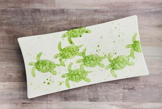 Platter. Sea Turtle. Baby Sea Turtles Rectangular Platter. Sea. Turtle. Handmade By Sara Hunter