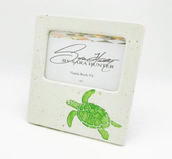 Sea Turtle Picture Frame. Turtle. 4x6. Handmade by Sara Hunter