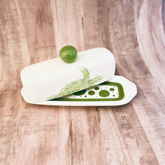 Butter Dish.Butter Dish. Sea Turtle Knobbed Butter Dish. Green. Sea. Turtle. Handmade by Sara Hunter