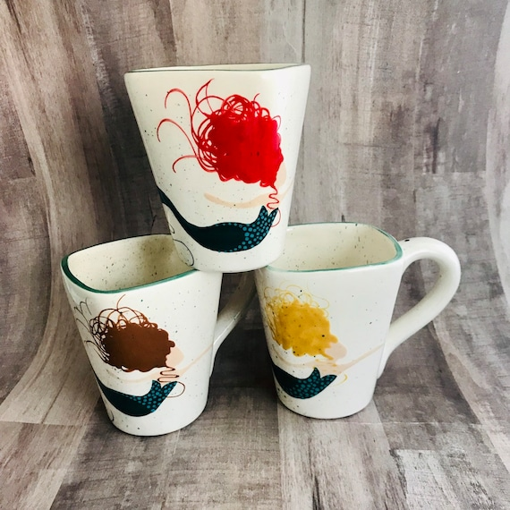 Mugs. Mermaid Mug. African American Mermaid Mug. Caucasian Mermaid Mug. Black Mermaid Mug. Coffee. Handmade by Sara Hunter