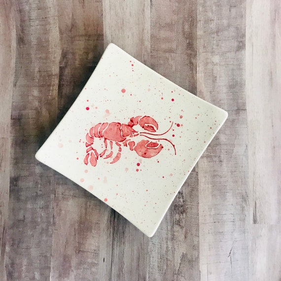Plate. Salad. Lobster Salad Plate. Lobster Plate. Lobster Dinner Plate. Salad Plate. Nautical. Coastal. Handmade By Sara Hunter