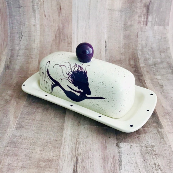 Butter Dish. Mermaid Knobbed Butter Dish. Mermaid.Handmade by Sara Hunter