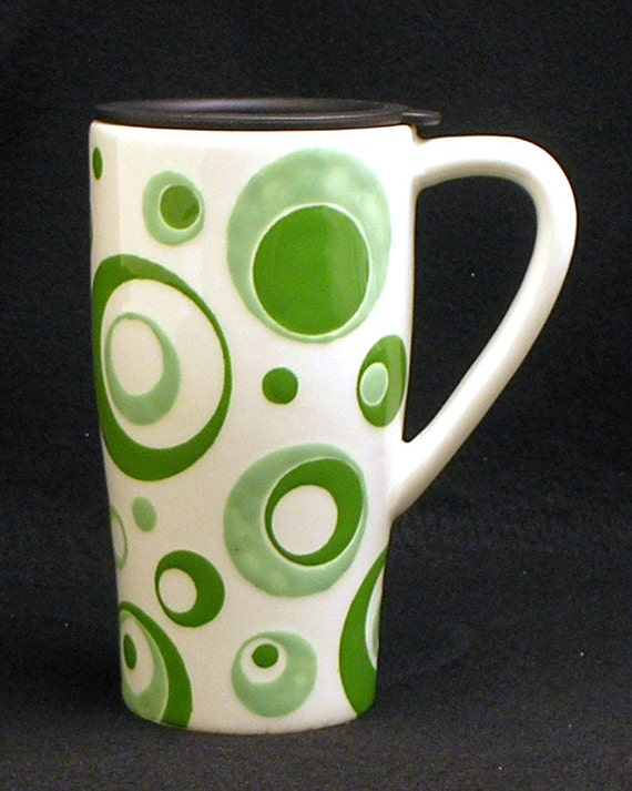 Travel Mug. Circle Travel Mug. 16 oz. Travel. Mug. Circles. Dots. Handmade by Sara Hunter