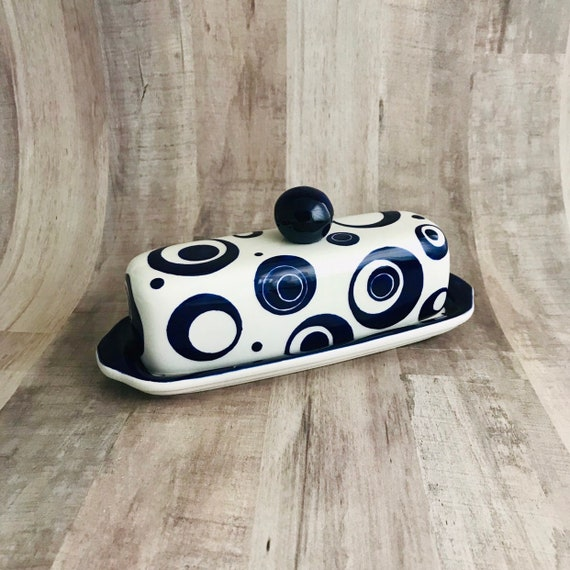 Butter Dish.Red Circle Butter Dish. Red. Circle. Dot. Butter. Dish. Tray. Handmade By Sara Hunter
