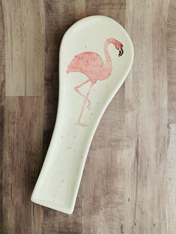 Spoon Rest. Flamingo Spoon Rest. Sea. Flamingo. Handmade By Sara Hunter