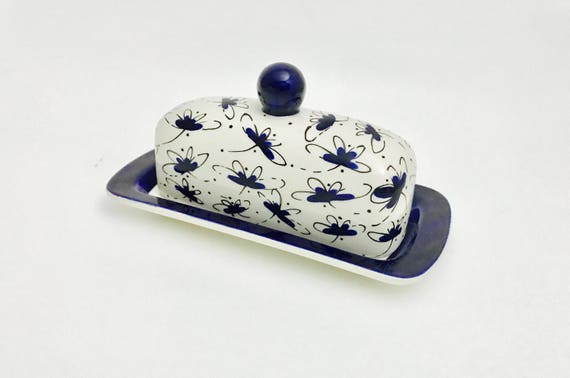 Butter Dish.Blue Dragonfly Knobbed Butter Dish. Blue. Dragonfly. Butter. Dish. Tray. Handmade by Sara Hunter
