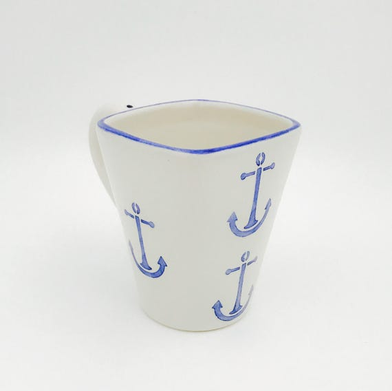 Anchor Mugs, Ancho Coffee, 12 oz, Handmade By Sara Hunter