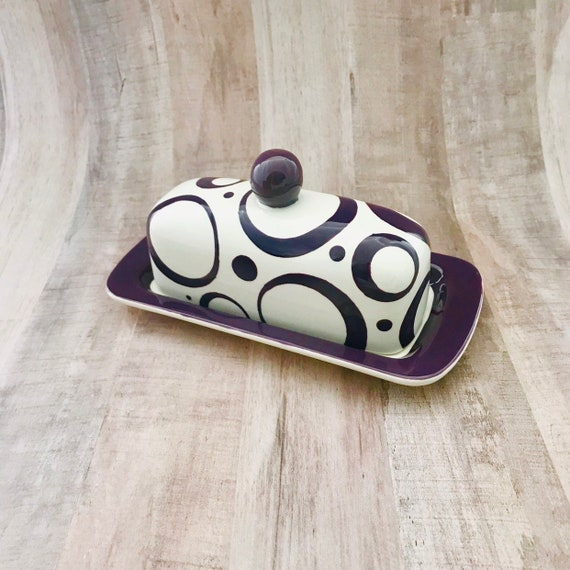 Butter Dish.Purple Knobbed Butter Dish. Circle.Purple. Dot. Butter. Dish. Tray. Handmade by Sara Hunter