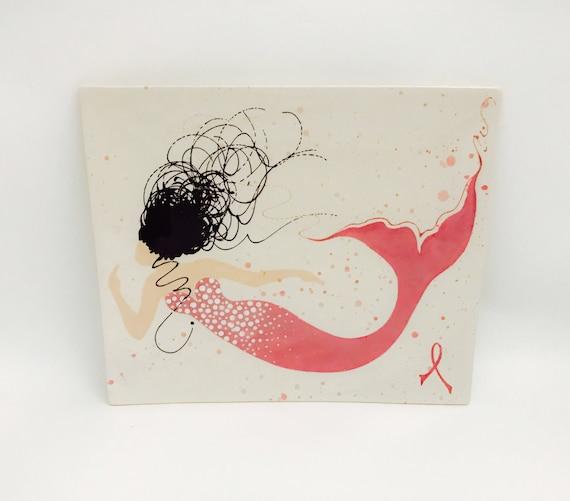Platter. Breast Cancer Awareness. Mermaid. Plate. Pink. Ribbon. Sushi. Serving. Dinner. Handmade by Sara Hunter