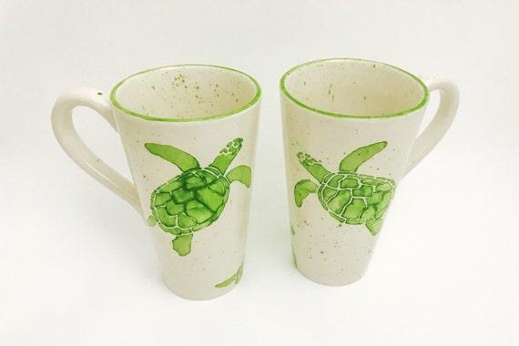 Mug. Sea Turtle Mug. Green. Sea. Turtle. Handmade by Sara Hunter