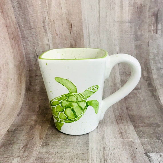 Sea Turtle Mugs, Sea, Turtle, Coffee, 12 oz, Handmade By Sara Hunter