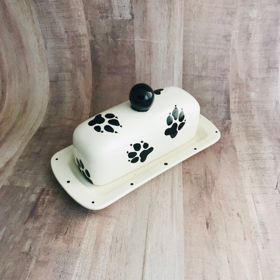 German Shepherd Doggie Paw Butter Dish. German Shepherd. Doggie Paw Knobbed Butter Dish. Paw. Butter. Dog. Handmade By Sara Hunter