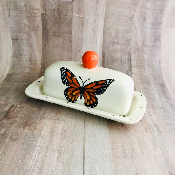 Monarch Butterfly Butter Dish. Butterfly. Butter Dish. Knobbed Butter Dish. Handmade By Sara Hunter