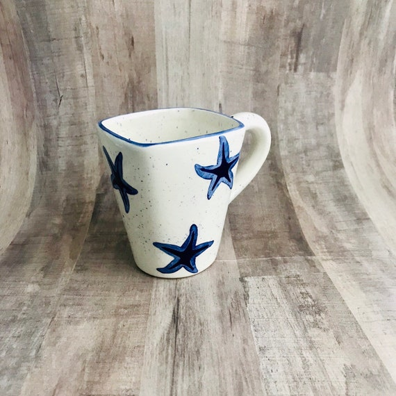 Mugs. Starfish Mugs. Sea Star, Starfish. Coffee. 12 oz. Handmade by Sara Hunter