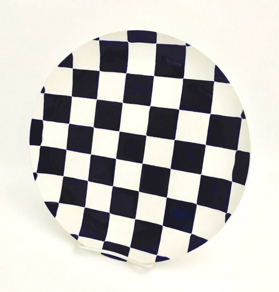 Plate.Checkerboard Dinner Plate.Checkerboard.Dinner.Black.White.Salad Plate.Handmade By Sara Hunter