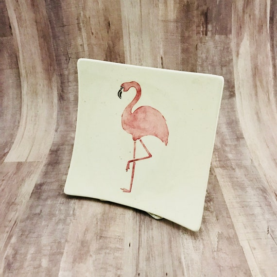 Plate. Salad. Flamingo Salad Plate. Flamingo Plate. Flamingo Dinner Plate. Salad Plate. Handmade By Sara Hunter