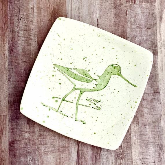 Dinner Plate. Sandpiper. Shorebird. Salad Plate. Housewarming Gift. Nautical.Handmade by By Sara Hunter