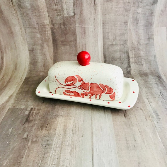 Butter Dish. Red Lobster. Knobbed Butter Dish. Handmade by Sara Hunter