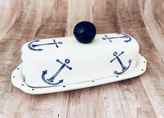 Butter Dish. Anchor Knobbed Butter Dish. Anchor. Nautical.Handmade by Sara Hunter