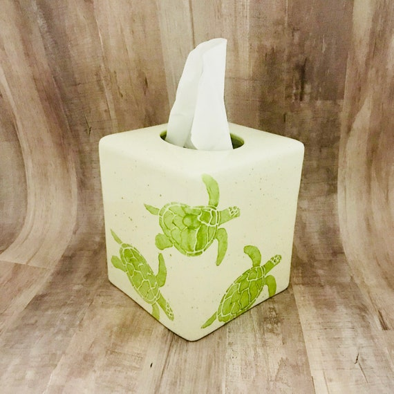 Tissue Box. Sea Turtle Tissue Box, Ceramic Pottery. Sea. Turtle. Circle. Handmade by Sara Hunter Designs.