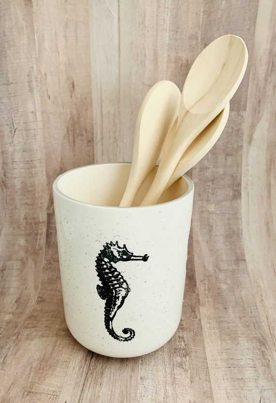 Seahorse Round Utensil Holder. Seahorse. Vase. Kitchen.  Housewarming Gift. Wedding Gift. Handmade by Sara Hunter