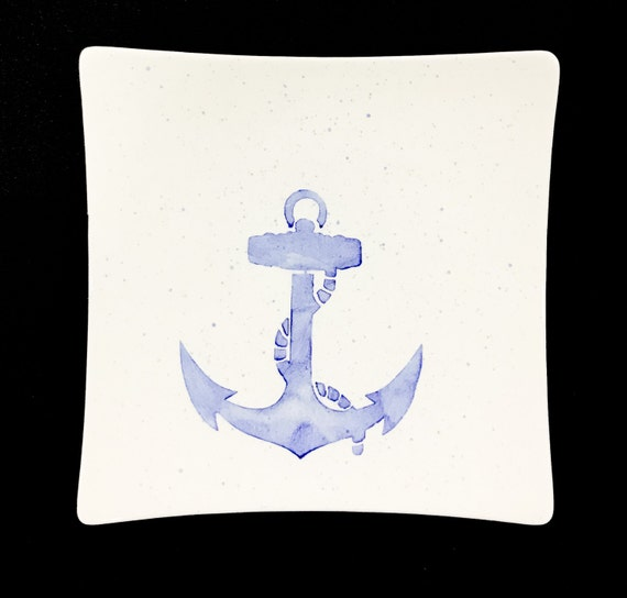 Plate. Salad. Anchor Salad Plate. Anchor Plate. Anchor Dinner Plate. Salad Plate. Nautical. Handmade By Sara Hunter