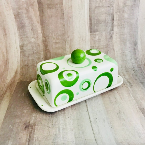 Butter Dish. Circle Knobbed Double Butter Dish. Bubbles. Kerrygold. Butter.Handmade By Sara Hunter