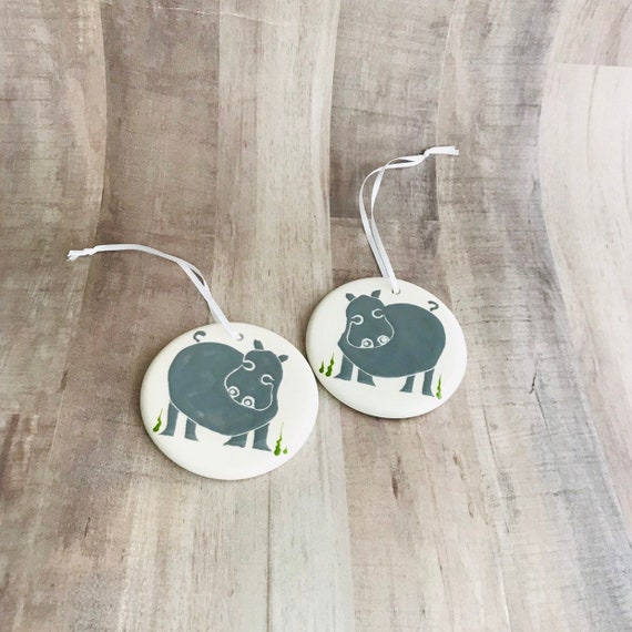 Hippo. Hippopotamus. Christmas Ornaments. Handmade by Sara Hunter Designs