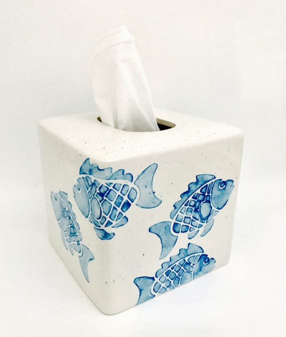 Tissue Box. FishTissue Box.  Bathroom. Ceramic Pottery. Fish. Handmade by Sara Hunter
