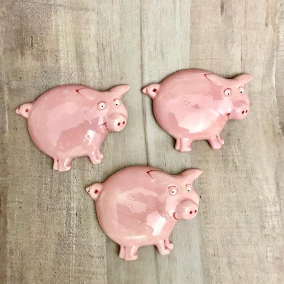 Ceramic Refrigerator Magnets. Piggy Magnets. Piglet Magnet. Pig Magnet. Pig. Magnet. By Sara Hunter