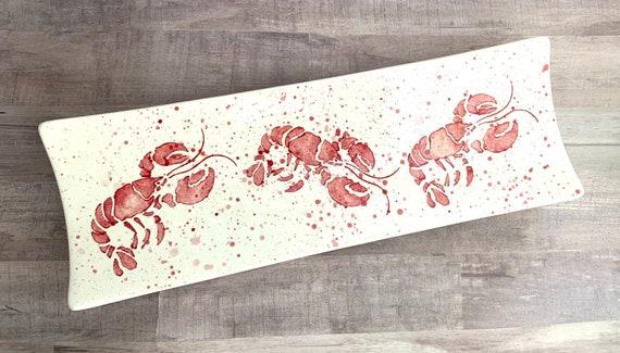 Platter. Lobsters times 3  Platter. Lobster. Red. Ocean. Seafood. Handmade by Sara Hunter Designs